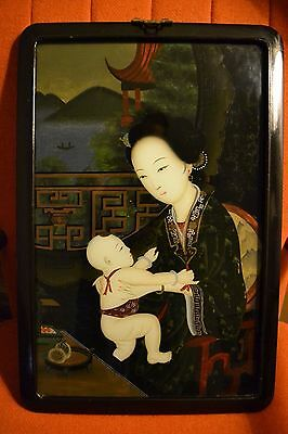ANTIQUE 1890's VICTORIAN REVERSE JAPANESE PAINTING ON GLASS OF MOTHER AND CHILD