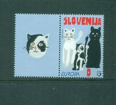 Slovenia 2006 Europa Black Cat White Cat  spotted Kitten MNH with Kitten Label