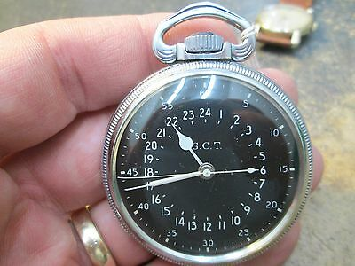 WWII MILITARY HAMILTON 22J 4992B movement MENS FANCY CASE RUNNING Pocket Watch