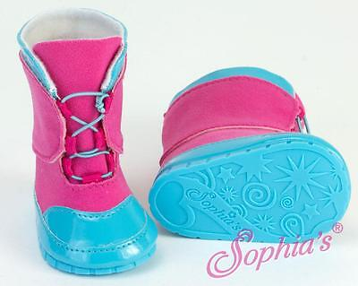 "Blue & Fuchsia Snow Boots fits 18"" American Girl Dolls shoe shoes boot winter"