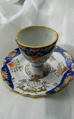 Antique Desvres Fourmaintraux Freres French Faience Egg Cup attached underplate