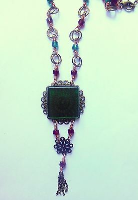 Green, red vintage style necklace with square pendant,  glass beads.