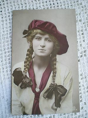 Beautiful Vintage Pretty Glamour Girl Real Photograph RP Hand Coloured Postcard