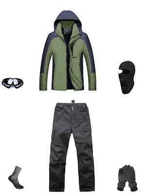 Men Hiking Bushwalk Waterproof Jacket+Pants+Gloves+Goggle+Balaclava S M L XL XXL