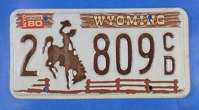 1980 Wyoming Truck License Plate 2-809Cd                                  Ul4100