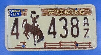 1981 Wyoming Truck License Plate 4-438Az                                  Ul4102