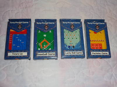(4) Tomy Pocket Games 1975 Baseball Time's Up Lucky Ball Pachinko in Packaging