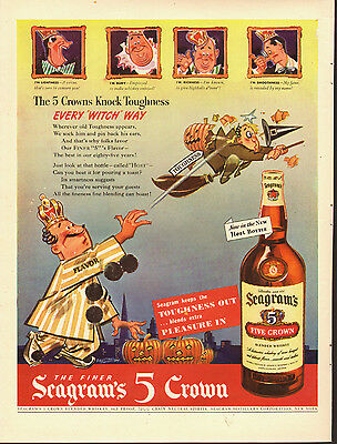 1940s Vintage AD, SEAGRAM'S 5 CROWN Whiskey, Comic Art by R.Patterson (061714)