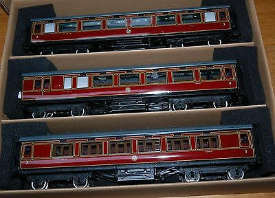 Darstaed Set A Lms  O Gauge Three Coaches Period 11 With Internal Lights Boxed