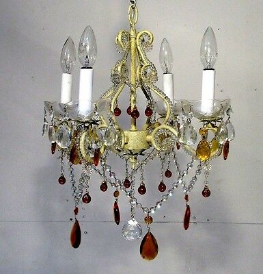 Antique Chic Chandelier Shabby White Crystals Lavish Ceiling Light Fixture Lamp
