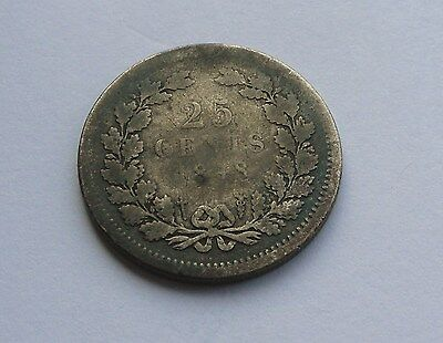 Netherlands, 25 Cents, 1848 (silver) in Good Condition.