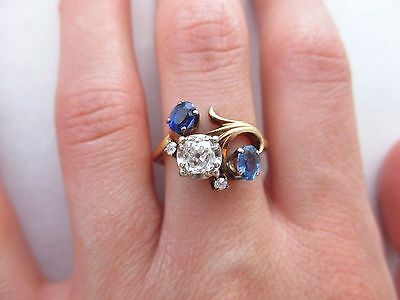 Jabel 14k Gold Old Mine Cut Diamond & 2 Ceylon Blue Sapphires Swirl Ring Antique