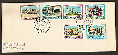 QATAR 1969 FDC with SG 282 to 287 Complete Set Qatar Security Forces Rare