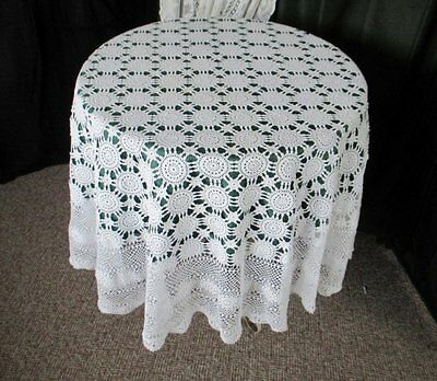 """LARGE ROUND TABLECLOTH - ALL HAND CROCHET - WHITE - 72"""" dia"""