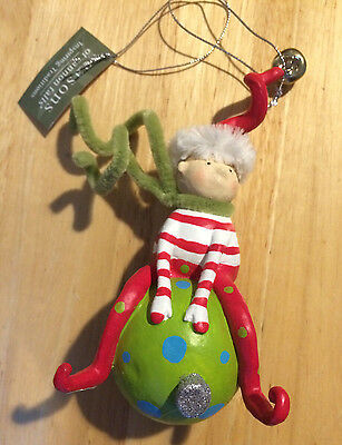 Pixie Elf Sitting on Ornament by Midwest CBK New w/Tag 2009