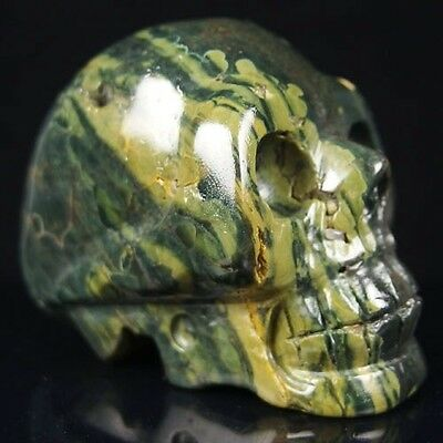 """3"""" hand carved natural gemstone skull statue stone carving fh6 h5407"""