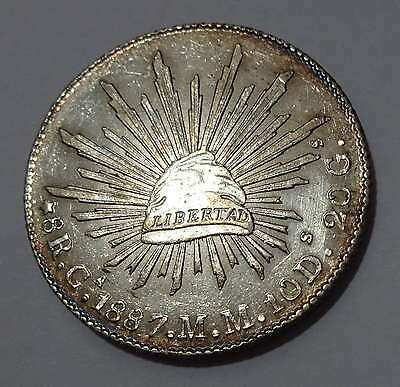 1887-Ca Mm Cap And Rays 8 Reales Mexico Nice Color High Grade