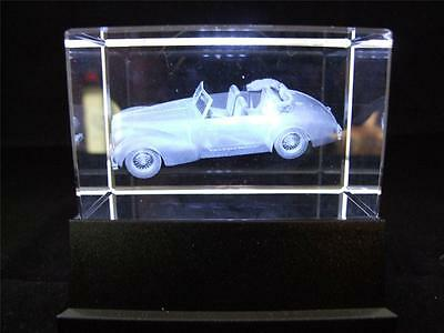 Solid Glass Crystal Laser Block and White Light Box Classic Racing Car.