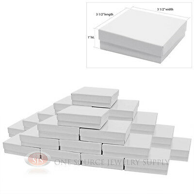 "25 Gloss White Cotton Filled Gift Boxes 3 1/2"" X 3 1/2"" Jewelry Bangle Chain Box"