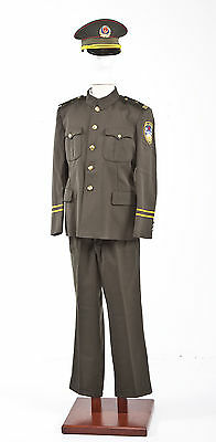Vintage South Korea Police Uniform Tunic, Pants And Cap From State Police Museum