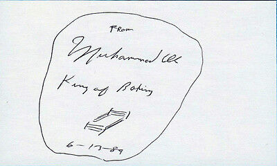 "1989 MUHAMMAD ALI SIGNED 3x5 CARD w/RARE QUOTE ""KING OF BOXING"" & SKETCH OF RING"