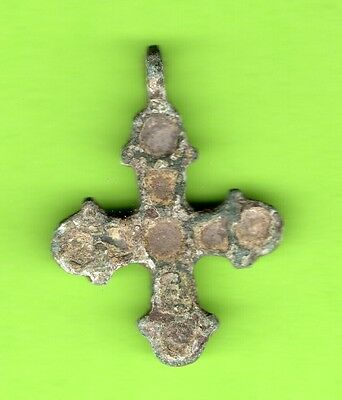 Russia Kiev type Bronze Enamel Cross Pendant Viking time 10-12th RARE 896