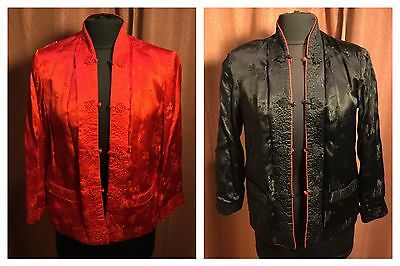 Asian PEONY Black/Red Reversible Jacket / Embroidered Mandarin / Size 36 -Small?