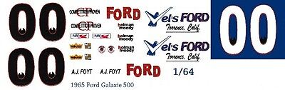 #00 AJ Foyt Vel's Ford 1965 1/64th HO Scale Slot Car Waterslide Decals