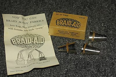 vintage braid-aids fabric folder tool rug mat covers silver in box antique