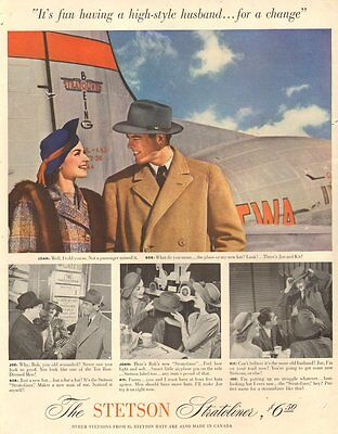 1941 vintage AD STETSON Stratoliner Men's Hat  nice TWA DC-3 in Picture  070916