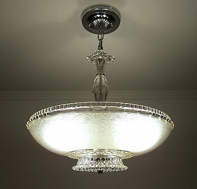 Antique 30s-40s Vintage Art Deco Frosted Glass Ceiling Light Fixture Chandelier