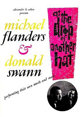 """Michael Flanders """"AT THE DROP OF ANOTHER HAT"""" Donald Swann 1966 Souvenir Program"""