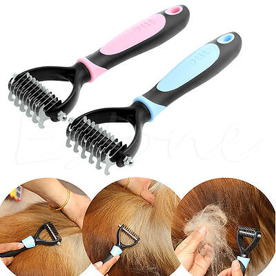 Pet Fur Knot Cutter Trimmer Rake Grooming Shedding Dog Brush Comb Tool Stainless