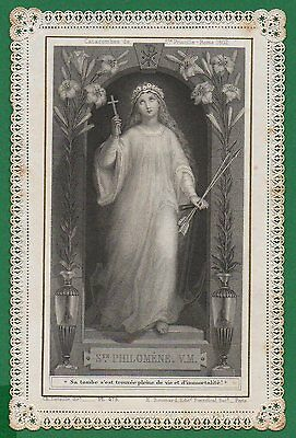 ST PHILOMENA AT CATACOMBS DOOR Antiq 19th LETAILLE / BOUMARD LACE HOLY CARD