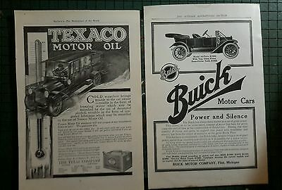 Texaco Motor Oil Can ad & Buick car advertising page pre 1919