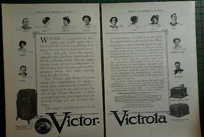 Victor Victrola ad pages pre 1919 advertising Nipper