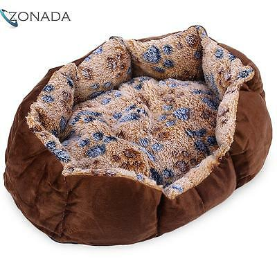 Soft Washable Footprint Pet Dog Cat Bed House Nest with Removable Cushion