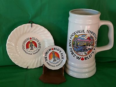 Vintage Worlds Fair 1982 Knoxville Tennessee Lot Lg. Stein, 2 Collector Plates