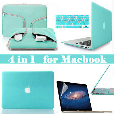 """Teal Blue Carry Bag Hard Case Keyboard / LCD Cover for Macbook Air Pro 11 13 15"""""""