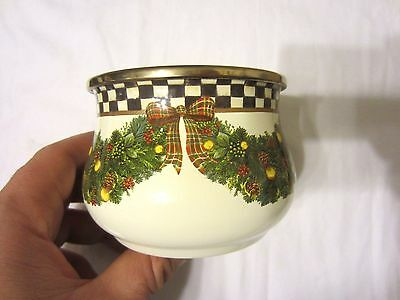 MacKenzie-Childs Enamel Evergreen Courtly Check & Swags Candy Sugar Bowl NR