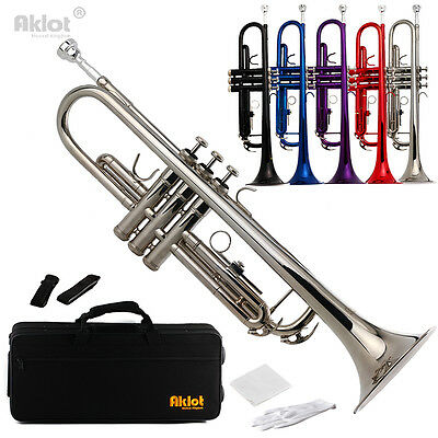 Bb Beginner Trumpet with Silver Plated Mouthpiece Silver Purple Red Blue Black