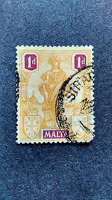 Malta 1922-26 1  Pence Used Yellow 1 V  Stamp   S9.66