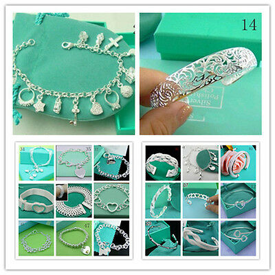 Wholesale Fashion new Jewelry 925Sterling Silver Charm Chain Bracelet Bangle+Box