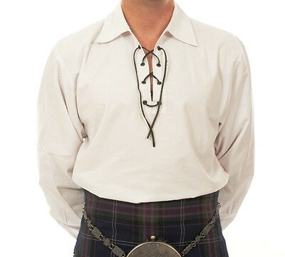 """sale Offer"" Sm White Deluxe Scottish Jacobean Laced Ghillie Shirt 4 Kilt Sale"