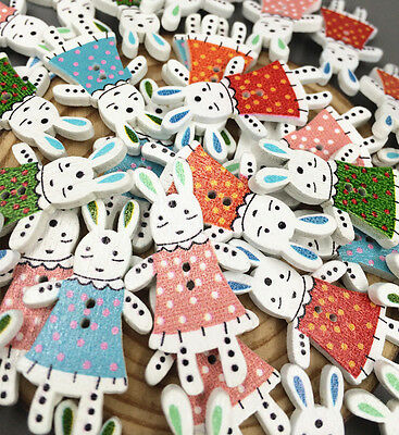 DIY Miss Rabbit Cartoon Wooden buttons Mixed-color Sewing Crafts decoration 36mm