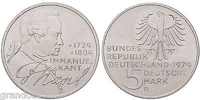 Immanuel Kant 5 Mark 1974 D Germania Moneta Argento Proof