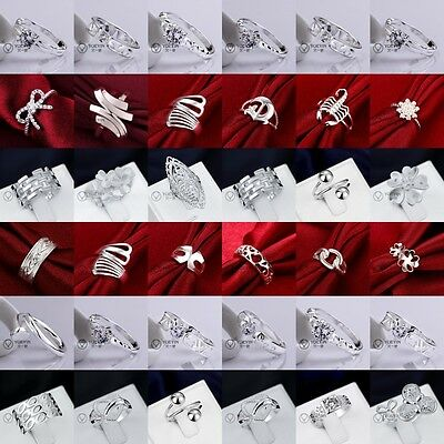 Wholesale Jewellery Solid 925Sterling Silver Jewelry Fashion Ring Xmas Gift +Box