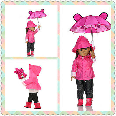 6pcs Doll Clothes cute Rain Outfits Accessories for 18 inch American Girl Doll