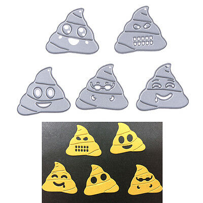 5 X Poop Shape Emoji DIY Cutting Dies Die Cut Stencils Scrapbooking Decor Crafts