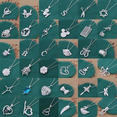 Wholesale 925Solid Silver Charming Pendant Necklace Chain  Xmas Gift Jewellery